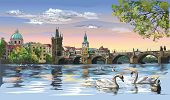 Colorful Vector Hand Drawing Illustration Cityscape Of Charles Bridge And Swans In Vltava River In P poster