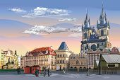 Colorful Vector Hand Drawing Illustration. Cityscape Of Old Town Square And Tyn Church.  Landmark Of poster