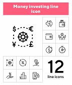 Money Investing Line Icon Set. Set Of Line Icons On White Background. Banking Concept. Piggy Bank, P poster
