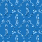 Doodle Medical Seamless Pattern With Toothbrush Isolated On Blue Background. Oral Hygiene Concept. C poster