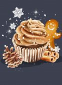 Cupcake With Whipped Cream. Snow Falling From Upside. Conifer Cone, Cinnamon Sticks And Gingerbread  poster