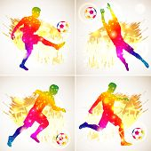 Set Silhouette Soccer Football Player, Goalkeeper And Ball. Soccer Fans On Grunge Background. Modern poster