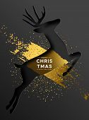 Merry Christmas Happy New Year Greeting Card Of Paper Cut Reindeer With Luxury Gold Paint And Golden poster