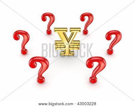 Red query marks around yen sign.
