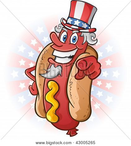 Uncle Sam Hot Dog Cartoon on July Fourth