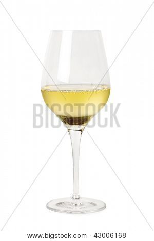 Glass of white wine, isolated on white background.