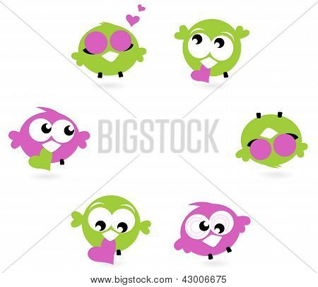 Beautiful Love Twitter Birds Set Isolated On White