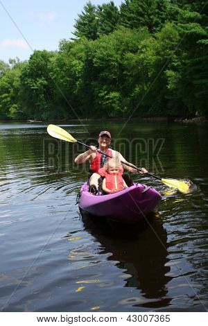 Father and daughter kayaking