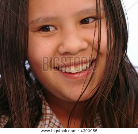 Happiness In Young Girl Close Up