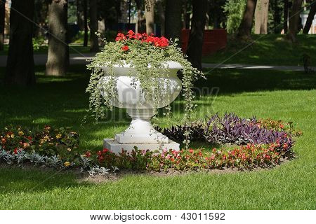 A Vase Of Flowers In The Flower Bed