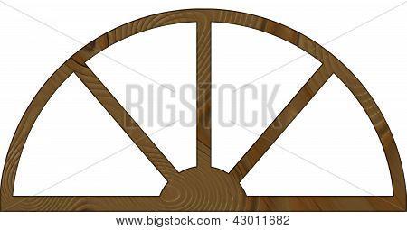 Aislado estrecho arqueado marco de ventana de madera