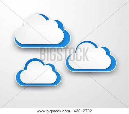 Vector abstract background composed of white and blue paper clouds over grey. Eps10.