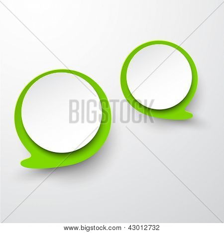 Vector abstract illustration of white and green paper round speech bubbles on grey background. Eps10.