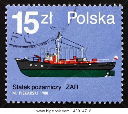 Postage Stamp Poland 1988 Zar, Fire Boat