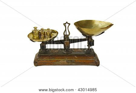 old french weighing in kilogram  in french  kilogramme , scale for seed trade, herbalist s shop