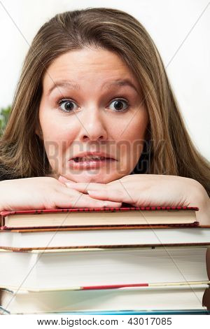 Panicked Student With Books