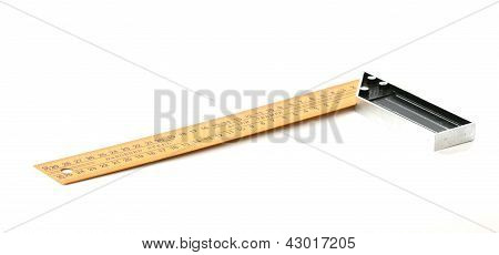 Yellow steel angle tool on white background