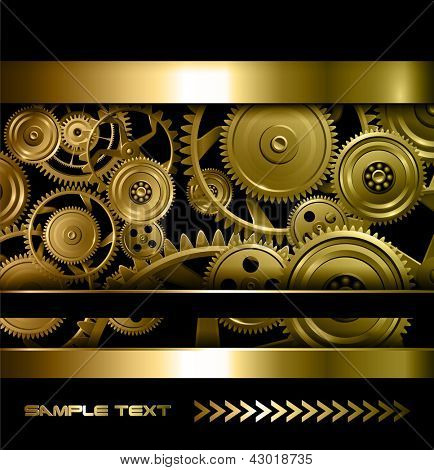 Technology background gold metallic gears and golden cogwheels, vector.