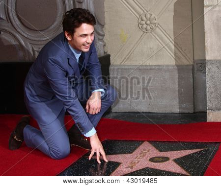 LOS ANGELES - MAR 7:  James Franco at the Hollywood Walk of Fame Ceremony honoring James Franco at the El Capitan Theater on March 7, 2013 in Los Angeles, CA