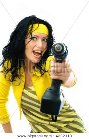 Excited Woman With A Drill