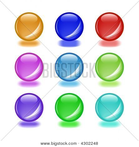 Set Of Shiny Orbs With Shadows. Aqua Web 2.0 Style. As Icon, Button Or Another Design Element