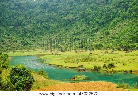 Phong Nha-K? B� ng National Park, Vietnam- mountain landscape with river