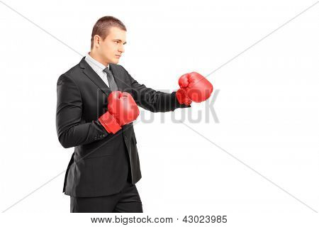 Young man in suit with red boxing gloves ready to hit isolated on white background