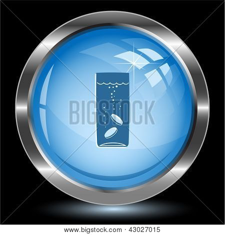 Glass with tablets. Internet button. Vector illustration.