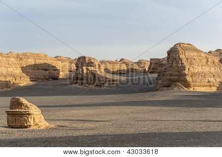 Yardang Landschaftsformen in Dunhuang, Gansu, China