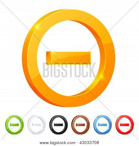 Set of 7 minus symbol in different colors.
