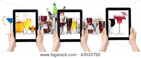 Alcohol Drinks Set And Tablet Pc With Hand