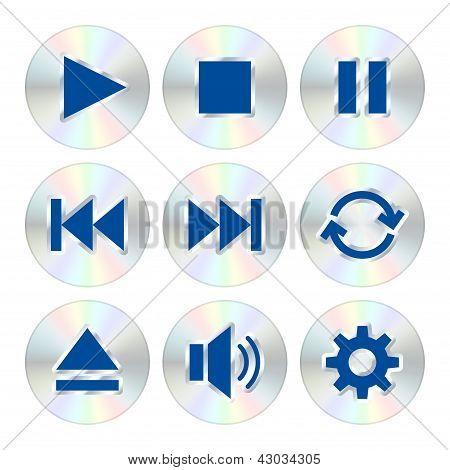 Botones del reproductor de música. Ilustración de Vector