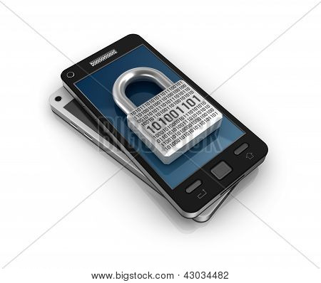 Smartphone with lock. Security concept.