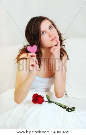 Girl In Bed With Valentine