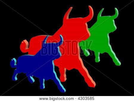 Drei farbige Ochsen