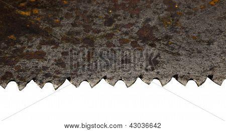 Rusty Retro Metal Hand Saw Blade Closeup On White