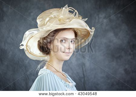 Woman in historic hat