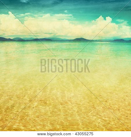 View of the sea in grunge and retro style.