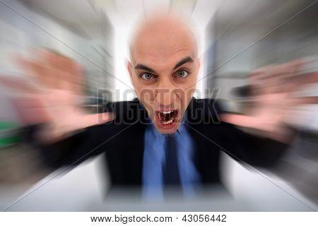 Irate bald businessman