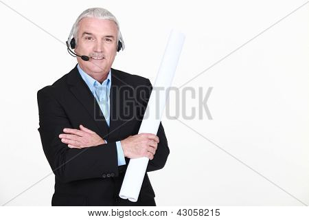 Man with headphones and microphone