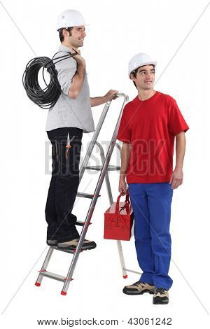 Two electrician about to start work