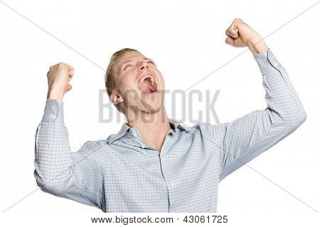 Excited business person shouting with arms up suggesting success, isolated on white background.