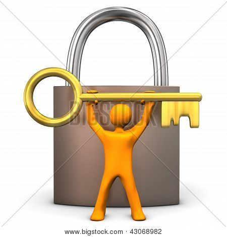 Manikin Padlock Golden Key