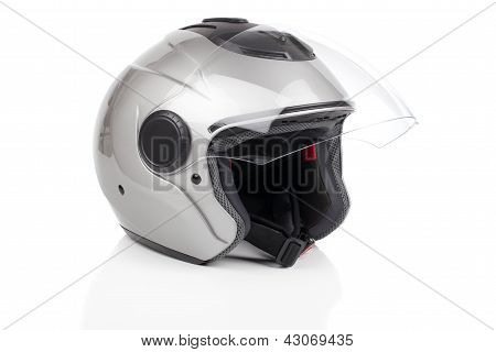 Gray, Shiny Motorcycle Helmet Isolated