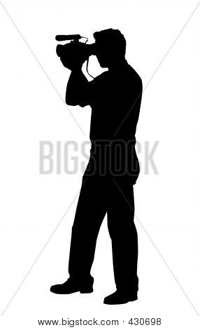 Man With Handy Video Camera Isolated