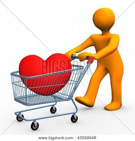 Coração de carrinho de compras