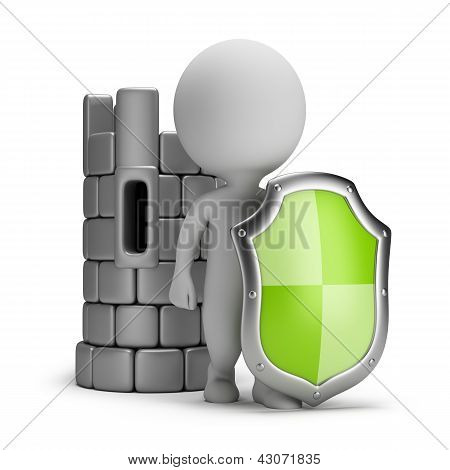 3D Small People - Shield And A Castle