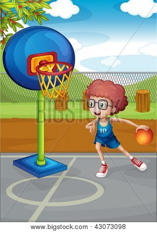 Illustration of a boy playing basket ball