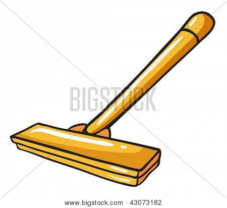 Illustration of a yellow mop on a white background