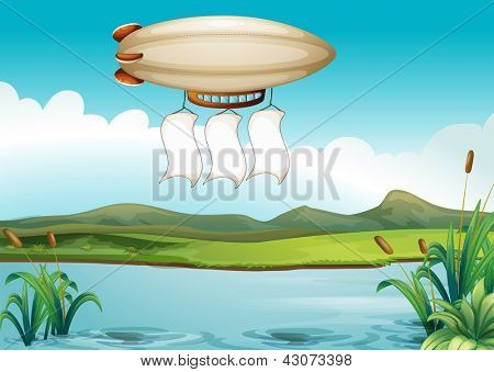 Illustration of a blimp carrying three empty banners